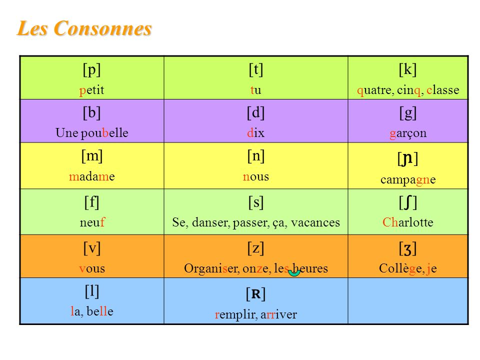 Les Consonnes [p] [t] [k] [b] [d] [g] [m] [n] [ɲ] [f] [s] [∫] [v] [z]